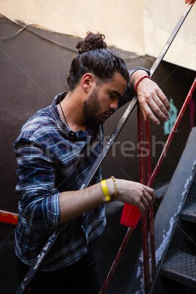 пьяный человека вход Бар стекла Сток-фото © wavebreak_media