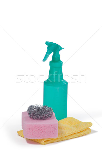 Detergent spray bottle, scrubber, sponge pad and napkin cloth on white background Stock photo © wavebreak_media
