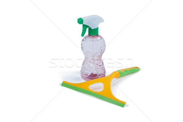 Detergent spray bottle and window squeegee on white background Stock photo © wavebreak_media
