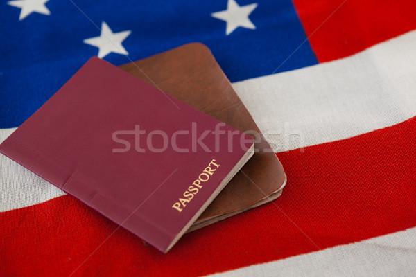 útlevél VISA amerikai zászló közelkép biztonság kék Stock fotó © wavebreak_media
