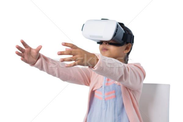 Ragazza virtuale realtà auricolare bianco bambino Foto d'archivio © wavebreak_media