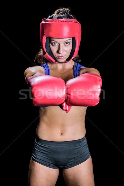 Portret kobiet myśliwiec rękawice czarny kobieta Zdjęcia stock © wavebreak_media