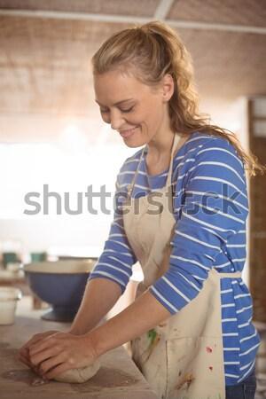 ストックフォト: ウエートレス · 注文 · レストラン · 幸せ · 書く