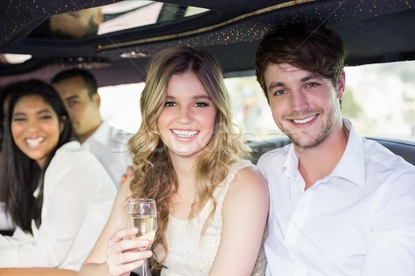 Mensen drinken champagne limousine Stockfoto © wavebreak_media