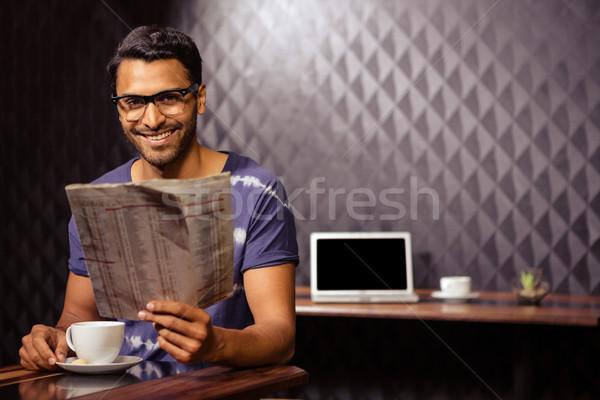 человека чтение газета кофейня бизнеса кофе Сток-фото © wavebreak_media