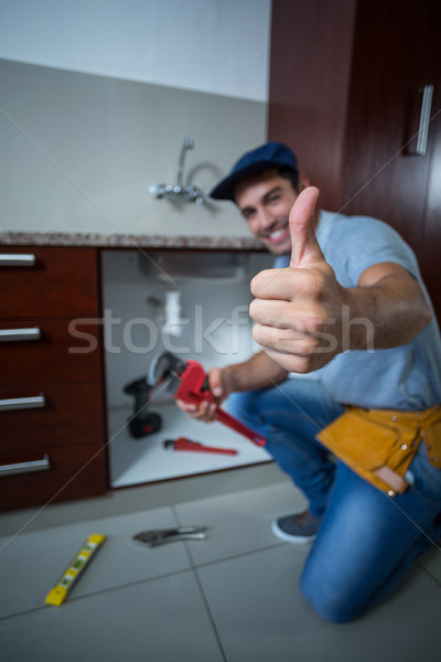 Glücklich Mann halten Rohr Stock foto © wavebreak_media