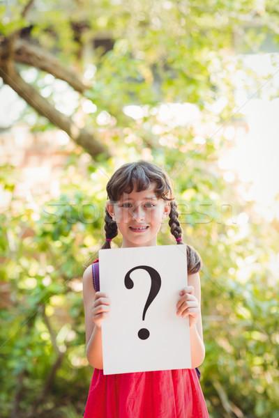 Lány tart felirat kérdőjel napos idő gyermek Stock fotó © wavebreak_media