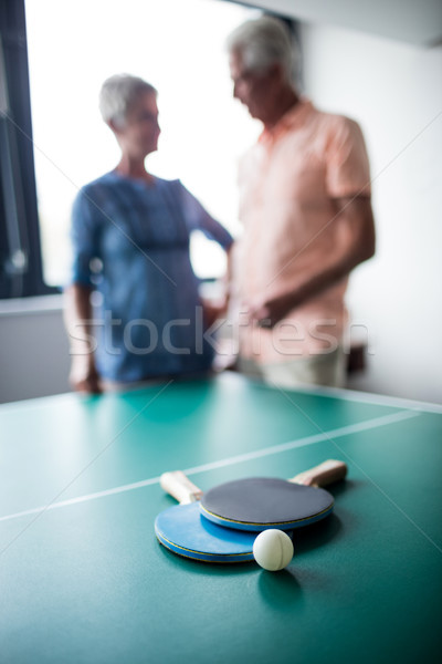 Couple of seniors interacting behind a ping pong table Stock photo © wavebreak_media