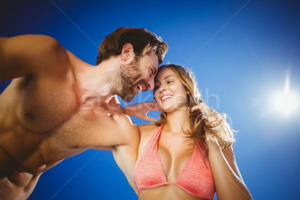 Romantikus fiatal pér égbolt napos idő nő férfi Stock fotó © wavebreak_media
