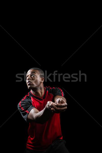 Stockfoto: Poseren · spelen · volleybal · zwarte · fitness