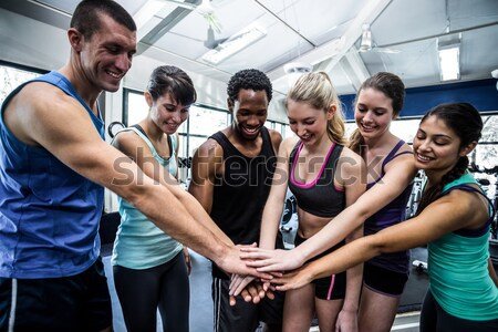 Gülen arkadaşlar kadın spor salonu uygunluk Stok fotoğraf © wavebreak_media