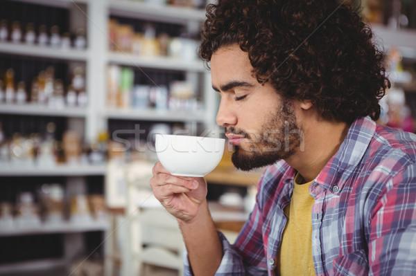 человека Кубок кофе кафе связи Сток-фото © wavebreak_media