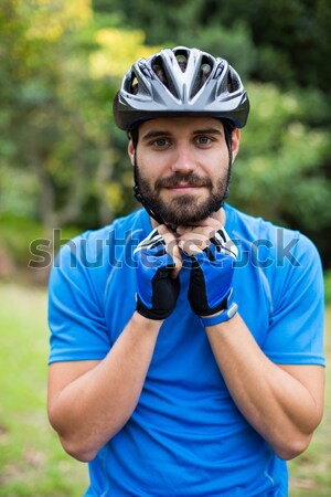 Male mountain biker wearing bicycle helmet Stock photo © wavebreak_media