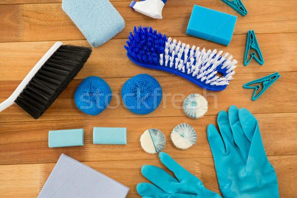 Handschoenen borstel wasknijper Blauw Stockfoto © wavebreak_media