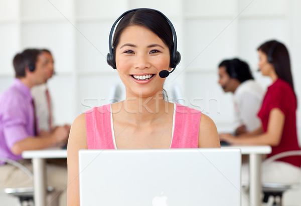 Wesoły obsługa klienta przedstawiciel zestawu call center działalności Zdjęcia stock © wavebreak_media