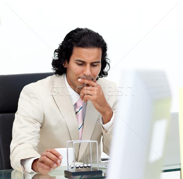 Ernst Geschäftsmann spielen Kugeln Büro Stock foto © wavebreak_media