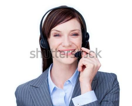 Sorridente atendimento ao cliente agente fone branco escritório Foto stock © wavebreak_media