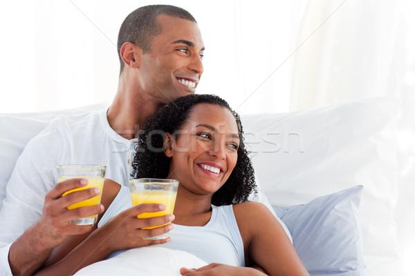 ロマンチックな カップル 飲料 オレンジジュース 少女 愛 ストックフォト © wavebreak_media