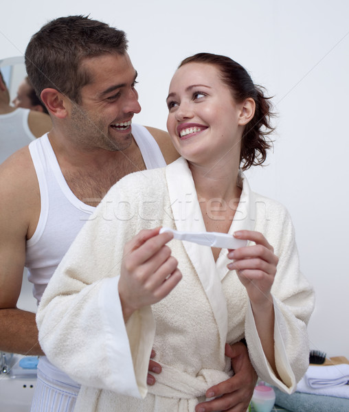 Stockfoto: Gelukkig · paar · badkamer · zwangerschaptest