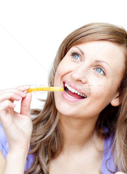 Caucasian woman holding chips Stock photo © wavebreak_media