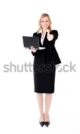 Femme d'affaires portable blanche fond espace travailleur Photo stock © wavebreak_media