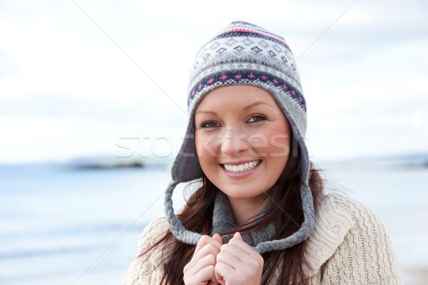 Stock fotó: Fiatal · női · kalap · tenger · modell · szépség