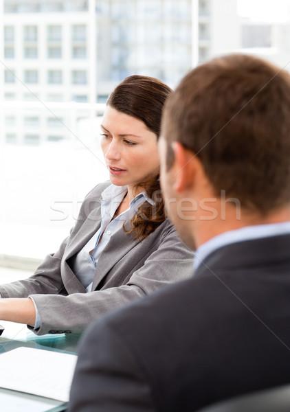 Сток-фото: вид · сзади · бизнесмен · интервью · женщины · менеджера · служба
