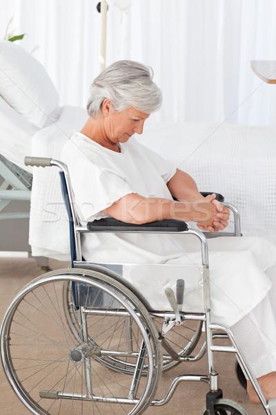 Senior vrouw rolstoel ruimte ouderen lachen Stockfoto © wavebreak_media