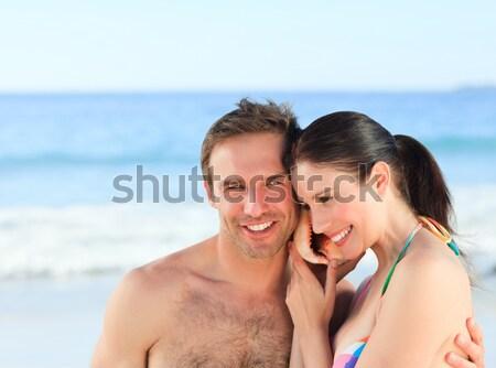 Kobieta chłopak plaży szczęśliwy model Zdjęcia stock © wavebreak_media