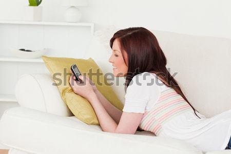 Jól kinéző nő laptopot használ telefon kanapé stúdió Stock fotó © wavebreak_media