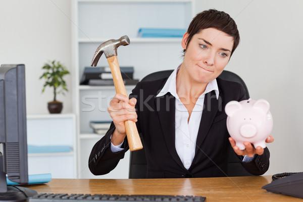 Ofis çalışanı çekiç ofis gülümseme üzücü Stok fotoğraf © wavebreak_media