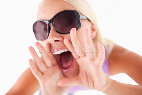 очаровательный женщину Солнцезащитные очки высокий настроение студию Сток-фото © wavebreak_media