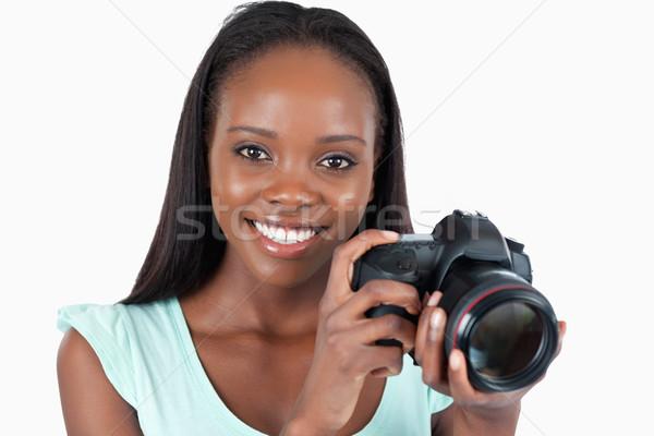笑みを浮かべて 小さな カメラマン 白 少女 背景 ストックフォト © wavebreak_media