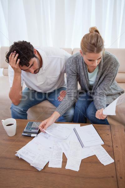 портрет депрессия пару учета гостиной кофе Сток-фото © wavebreak_media