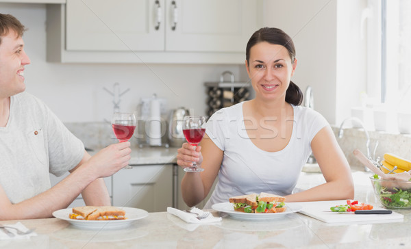 два молодые люди еды Бутерброды питьевой вино Сток-фото © wavebreak_media