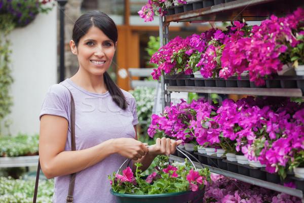 Сток-фото: женщину · корзины · покупке · розовый · цветы