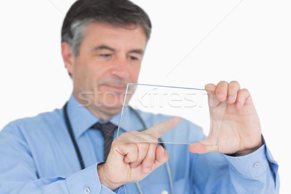 医師 触れる タブレット ガラス 病院 シャツ ストックフォト © wavebreak_media