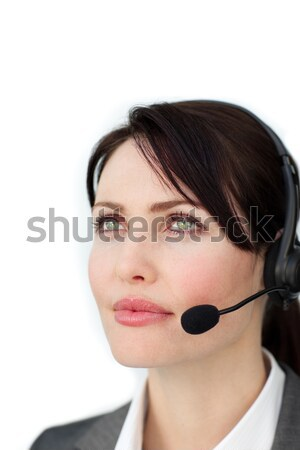 Stock photo: Woman made up in a sixtes mod style on black background