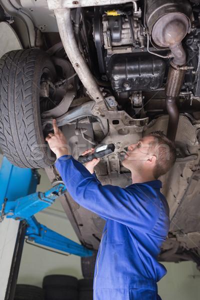 Mechanik samochodowy samochodu widok z boku pracownika Zdjęcia stock © wavebreak_media