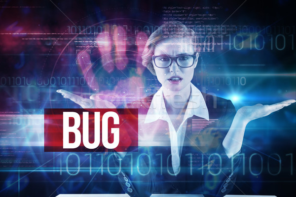 Bug against pink technology hand print interface design Stock photo © wavebreak_media