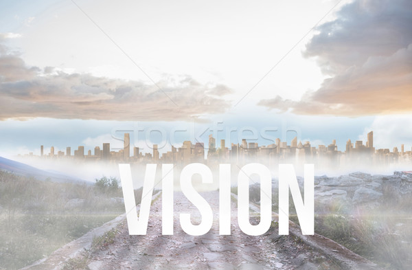 Vision against rocky path leading to large urban sprawl Stock photo © wavebreak_media