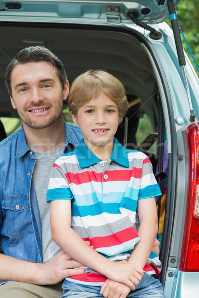 幸せ 父から息子 座って 車 肖像 家族 ストックフォト © wavebreak_media