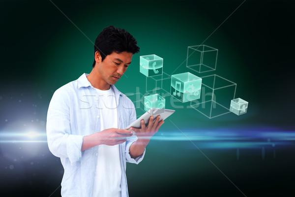 Casual homem comprimido interface composição digital verde Foto stock © wavebreak_media
