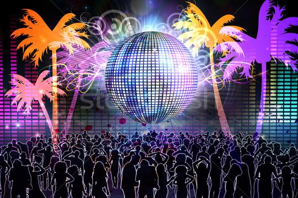 Digitaal gegenereerde nachtleven mensen dansen disco ball Stockfoto © wavebreak_media