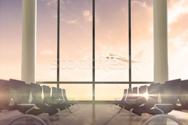 Avion battant passé départs salon fenêtre Photo stock © wavebreak_media