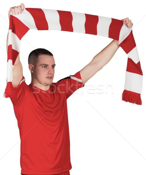Futballista tart csíkos sál fehér futball Stock fotó © wavebreak_media
