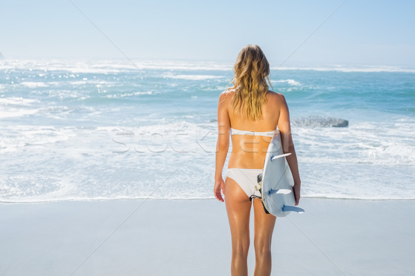 Szőke nő szörfös fehér bikini tart tábla Stock fotó © wavebreak_media