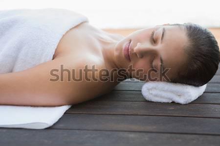 мирный брюнетка полотенце за пределами Spa Сток-фото © wavebreak_media