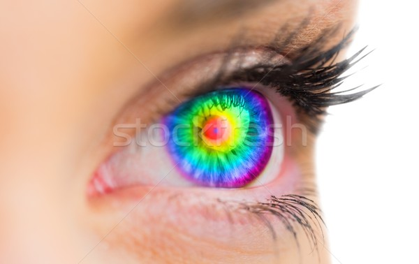 Psychedelic eye looking ahead on female face Stock photo © wavebreak_media