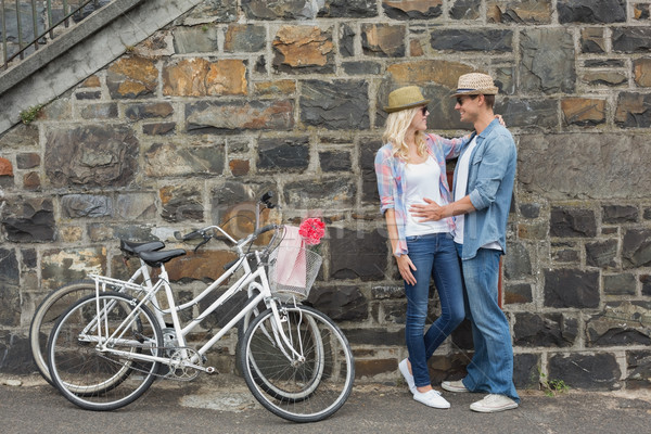бедро кирпичная стена велосипедах Сток-фото © wavebreak_media